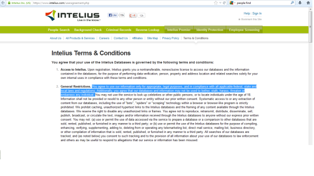 Intellius Terms and Conditions of use