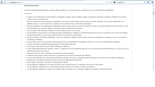 whitepages terms of conditions