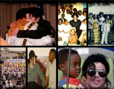 Michael Jackson visiting African children.