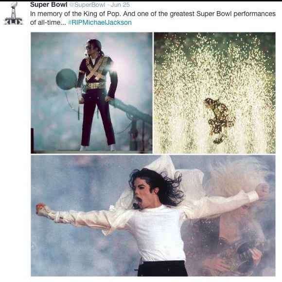 In June of 2014- Super Bowl twitter announced Michael's performance one of the BEST